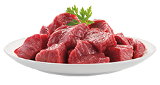 Beefcubes on a plate